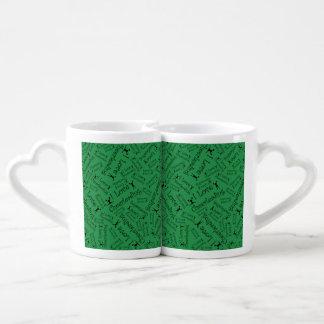 Green I love cheerleading Lovers Mug Sets