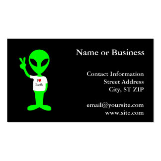 "Green ""I Love Earth"" Alien Business Card Template"