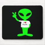 """Green """"I Love Earth"""" Alien Mouse Pads"""