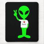 "Green ""I Love Earth"" Alien Mouse Pads"