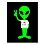 "Green ""I Love Earth"" Alien Post Cards"