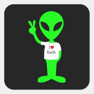 """Green """"I Love Earth"""" Alien Square Stickers"""