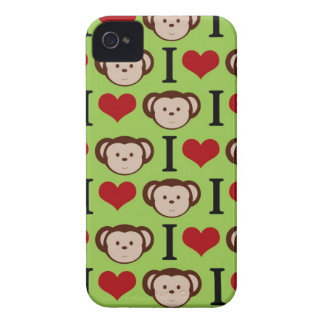 Green I Love Monkeys Blackberry Case