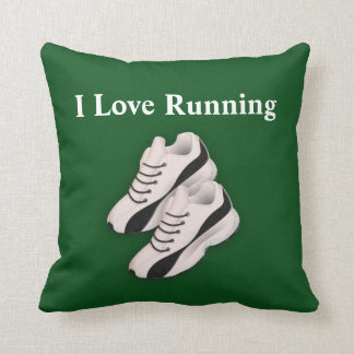 "Green ""I Love Running"" Sports Throw Pillow w/Shoes"
