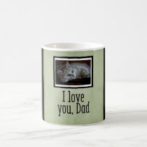 Green I Love You, Dad Custom Cat Photo Mug
