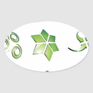Green icon elements oval sticker