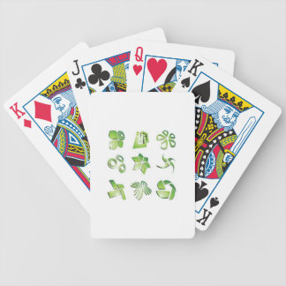 Green icon elements bicycle poker deck