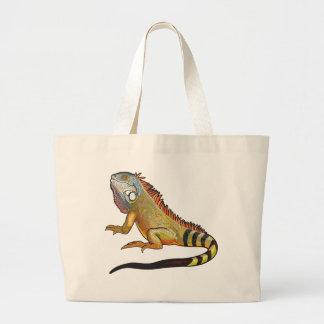 green iguana tote bags