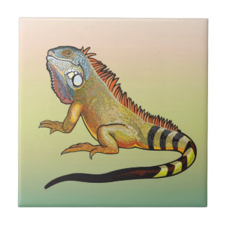 green iguana ceramic tile