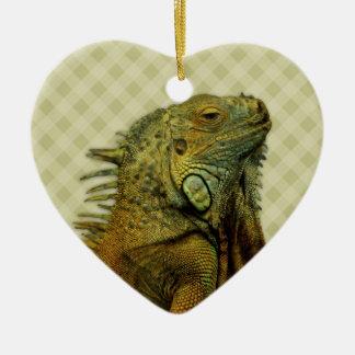 Green Iguana Double-Sided Heart Ceramic Christmas Ornament