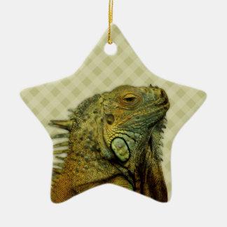 Green Iguana Double-Sided Star Ceramic Christmas Ornament