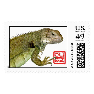 Green Iguana dragon stamp