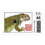 Green Iguana dragon stamp