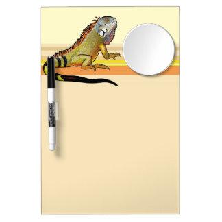 green iguana dry erase board with mirror