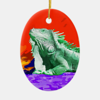 Green Iguana Lizard Ceramic Ornament