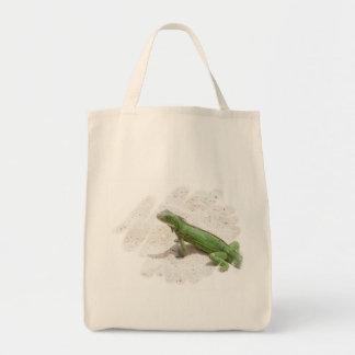 Green Iguana Lizard Grocery Tote Bag