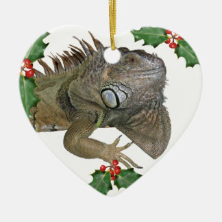 Green Iguana Love Xmas Ornament