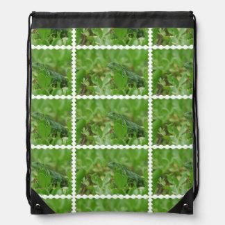 Green Iguana Drawstring Backpack