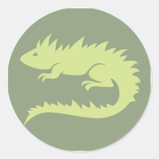 Green Iguana Reptile Icon Classic Round Sticker