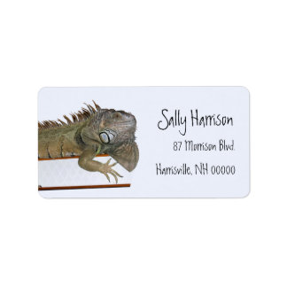 Green Iguana Return Address Label Template