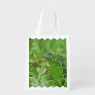 Green Iguana Reusable Grocery Bags