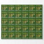 "[ Thumbnail: Green, Imitation Gold Look ""10th Birthday"" Wrapping Paper ]"