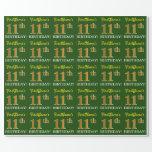 "[ Thumbnail: Green, Imitation Gold Look ""11th Birthday"" Wrapping Paper ]"