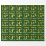 "[ Thumbnail: Green, Imitation Gold Look ""14th Birthday"" Wrapping Paper ]"