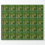 "[ Thumbnail: Green, Imitation Gold Look ""16th Birthday"" Wrapping Paper ]"