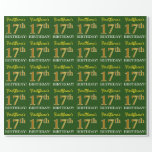 "[ Thumbnail: Green, Imitation Gold Look ""17th Birthday"" Wrapping Paper ]"