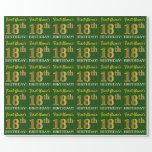 "[ Thumbnail: Green, Imitation Gold Look ""18th Birthday"" Wrapping Paper ]"