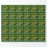 "[ Thumbnail: Green, Imitation Gold Look ""20th Birthday"" Wrapping Paper ]"