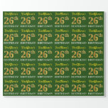 "[ Thumbnail: Green, Imitation Gold Look ""26th Birthday"" Wrapping Paper ]"