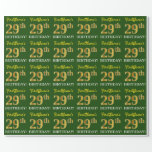 "[ Thumbnail: Green, Imitation Gold Look ""29th Birthday"" Wrapping Paper ]"