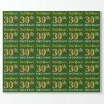"[ Thumbnail: Green, Imitation Gold Look ""30th Birthday"" Wrapping Paper ]"
