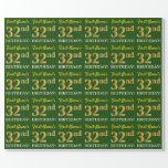 "[ Thumbnail: Green, Imitation Gold Look ""32nd Birthday"" Wrapping Paper ]"