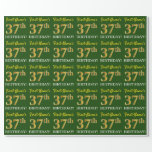 "[ Thumbnail: Green, Imitation Gold Look ""37th Birthday"" Wrapping Paper ]"
