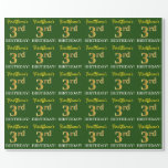 "[ Thumbnail: Green, Imitation Gold Look ""3rd Birthday"" Wrapping Paper ]"