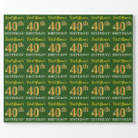 "[ Thumbnail: Green, Imitation Gold Look ""40th Birthday"" Wrapping Paper ]"