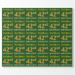 "[ Thumbnail: Green, Imitation Gold Look ""42nd Birthday"" Wrapping Paper ]"