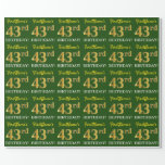 "[ Thumbnail: Green, Imitation Gold Look ""43rd Birthday"" Wrapping Paper ]"