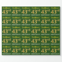 "Green, Imitation Gold Look ""43rd BIRTHDAY"" Wrapping Paper"