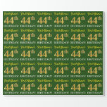 "[ Thumbnail: Green, Imitation Gold Look ""44th Birthday"" Wrapping Paper ]"