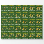 "[ Thumbnail: Green, Imitation Gold Look ""45th Birthday"" Wrapping Paper ]"