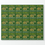 "[ Thumbnail: Green, Imitation Gold Look ""46th Birthday"" Wrapping Paper ]"
