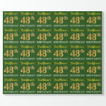 "[ Thumbnail: Green, Imitation Gold Look ""48th Birthday"" Wrapping Paper ]"