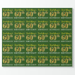 "[ Thumbnail: Green, Imitation Gold Look ""60th Birthday"" Wrapping Paper ]"