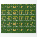 "[ Thumbnail: Green, Imitation Gold Look ""61st Birthday"" Wrapping Paper ]"