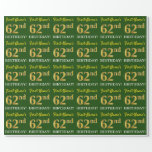 "[ Thumbnail: Green, Imitation Gold Look ""62nd Birthday"" Wrapping Paper ]"