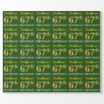 "[ Thumbnail: Green, Imitation Gold Look ""67th Birthday"" Wrapping Paper ]"